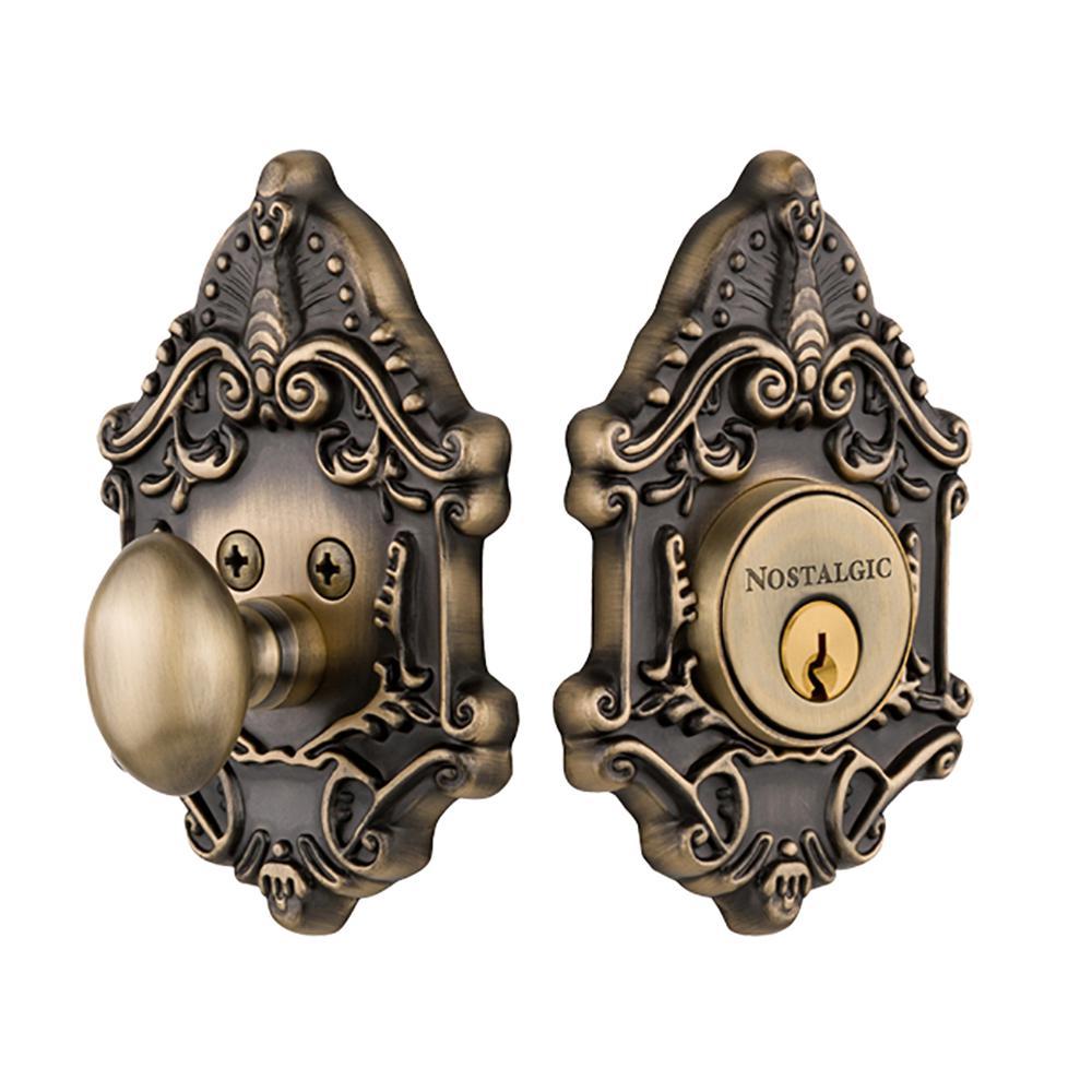 Victorian Plate 2-3/4 in. Antique Brass Backset Single Cylinder Deadbolt