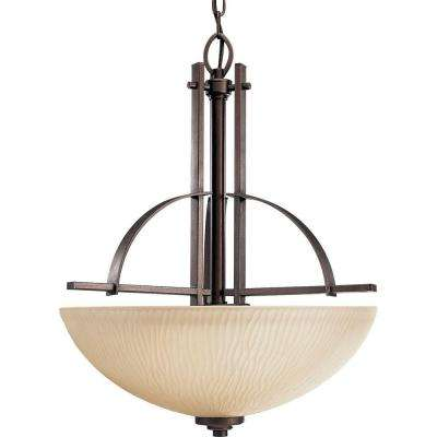 Riverside Collection 3-Light Heirloom Foyer Pendant with Etched Topaz Glass