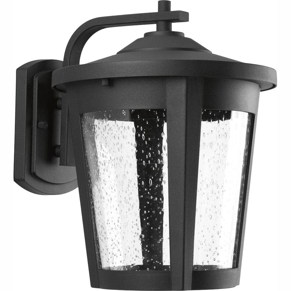 Progress Lighting East Haven Collection 1-Light 12 in. Outdoor Black LED Wall Lantern Sconce