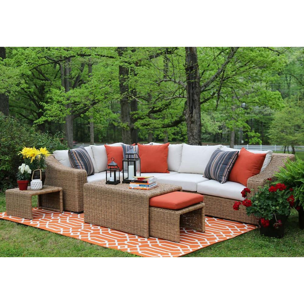 AE Outdoor Arizona 8 Piece All Weather Wicker Patio Sectional With  Sunbrella Fabric White