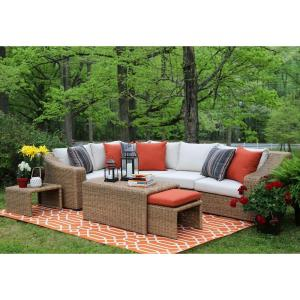 Arizona 8 Piece All Weather Wicker Patio Sectional With Sunbrella Fabric  White Cushions