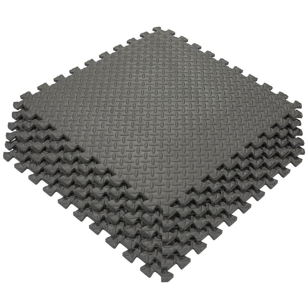 Ottomanson Multi-Purpose Black 24 in  x 24 in  EVA Foam Interlocking  Anti-Fatigue Exercise Tile Mat (6-Pack)