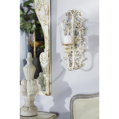 Distressed White Acanthus Candle Sconce