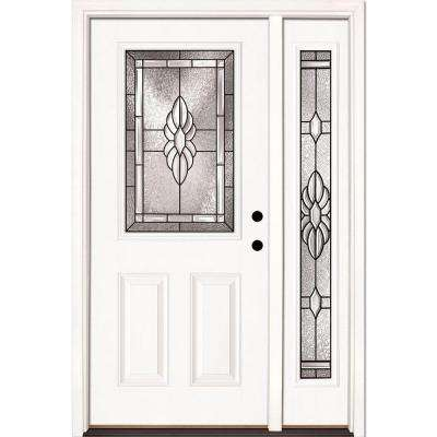 50.5 in. x 81.625 in. Sapphire Patina 1/2 Lite Unfinished Smooth Left-Hand Fiberglass Prehung Front Door with Sidelite