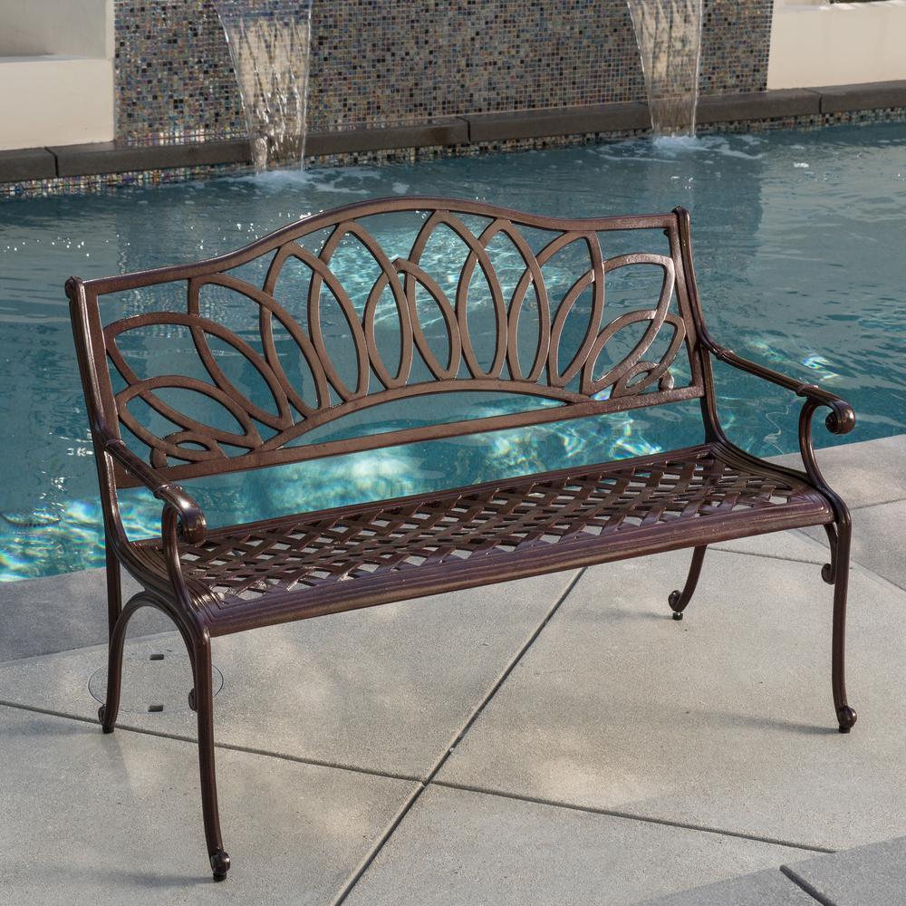 Patio Furniture Tysons Corner Virginia: Noble House Virginia 48 In. Brown Aluminum Outdoor Bench
