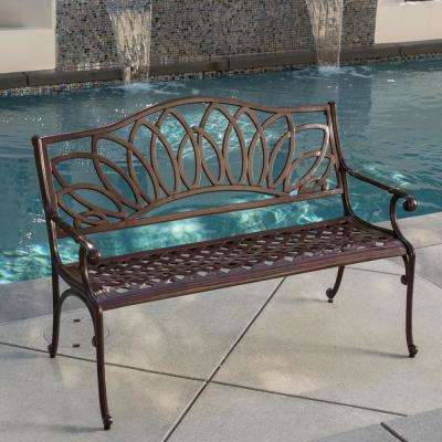 Virginia 48 in. Brown Aluminum Outdoor Bench