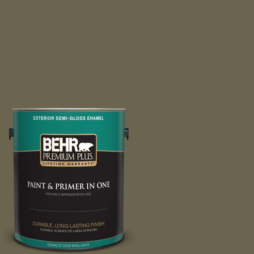 1 gal. #HDC-FL14-8 Deer Trail Semi-Gloss Enamel Exterior Paint
