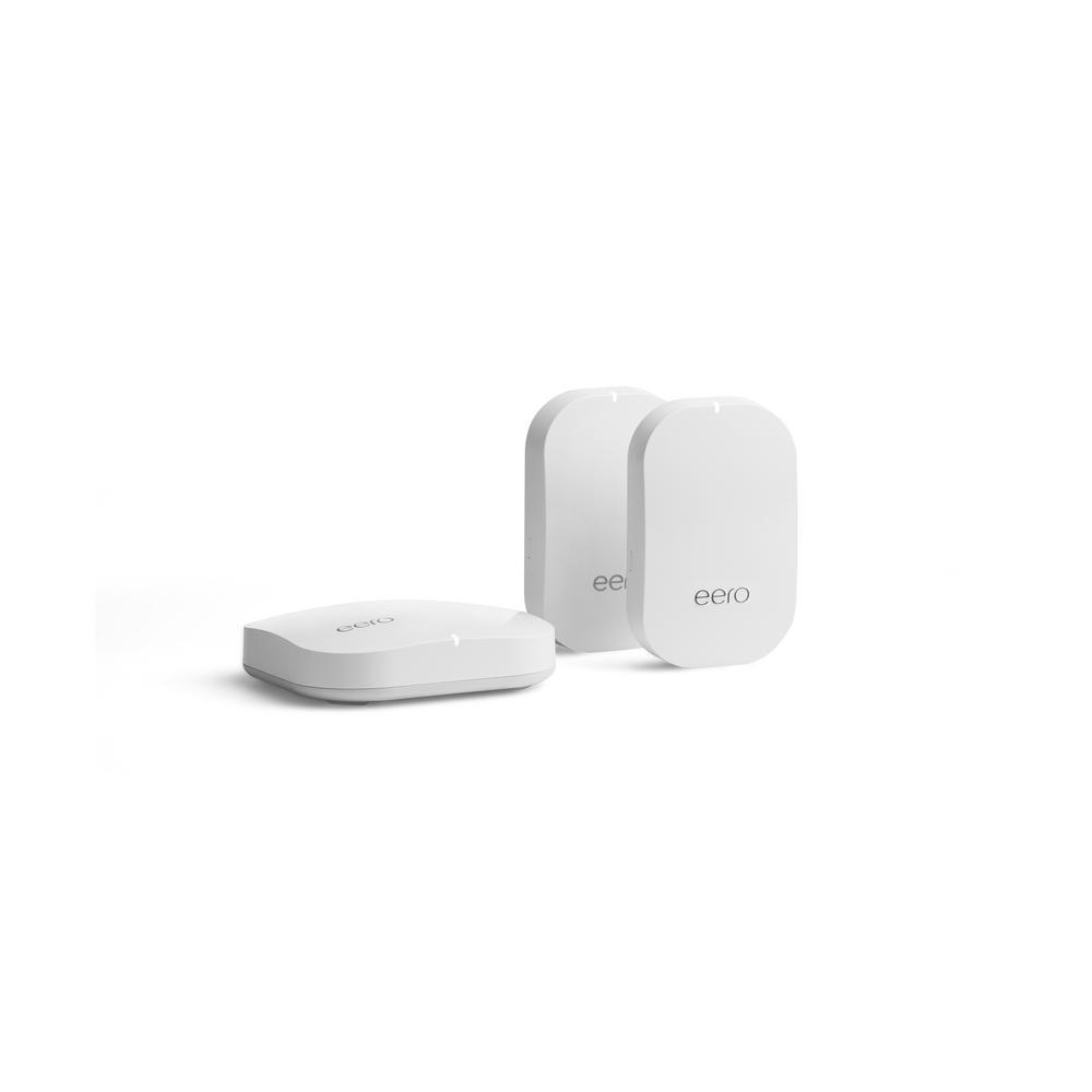 Advanced Tri-Band Mesh Home Wireless System Routers and Wi-Fi Range Adapter Extenders with 1 Pro and 2 Beacons in White