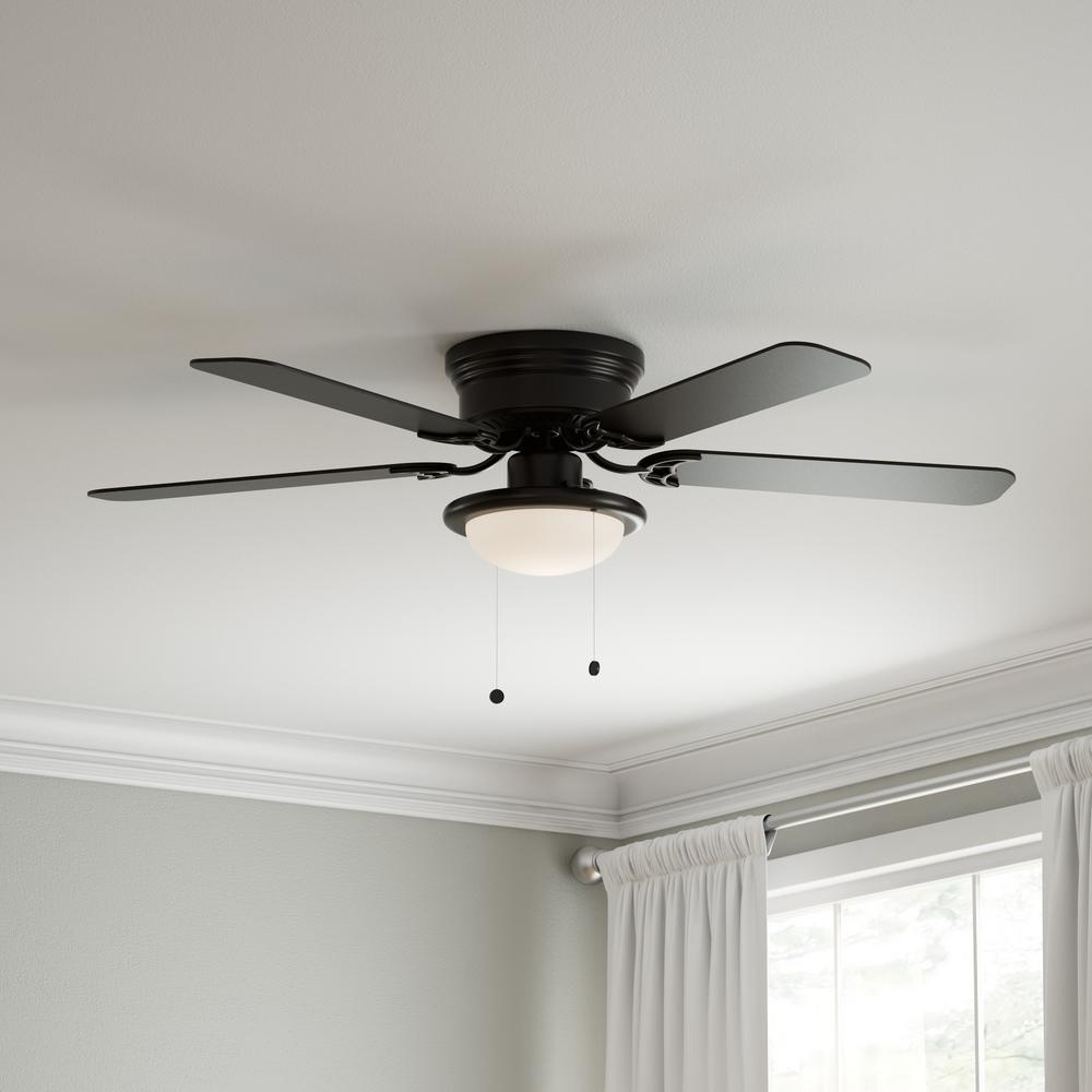 Hugger Black Ceiling Fan 52 In. LED Indoor W/ Light Low