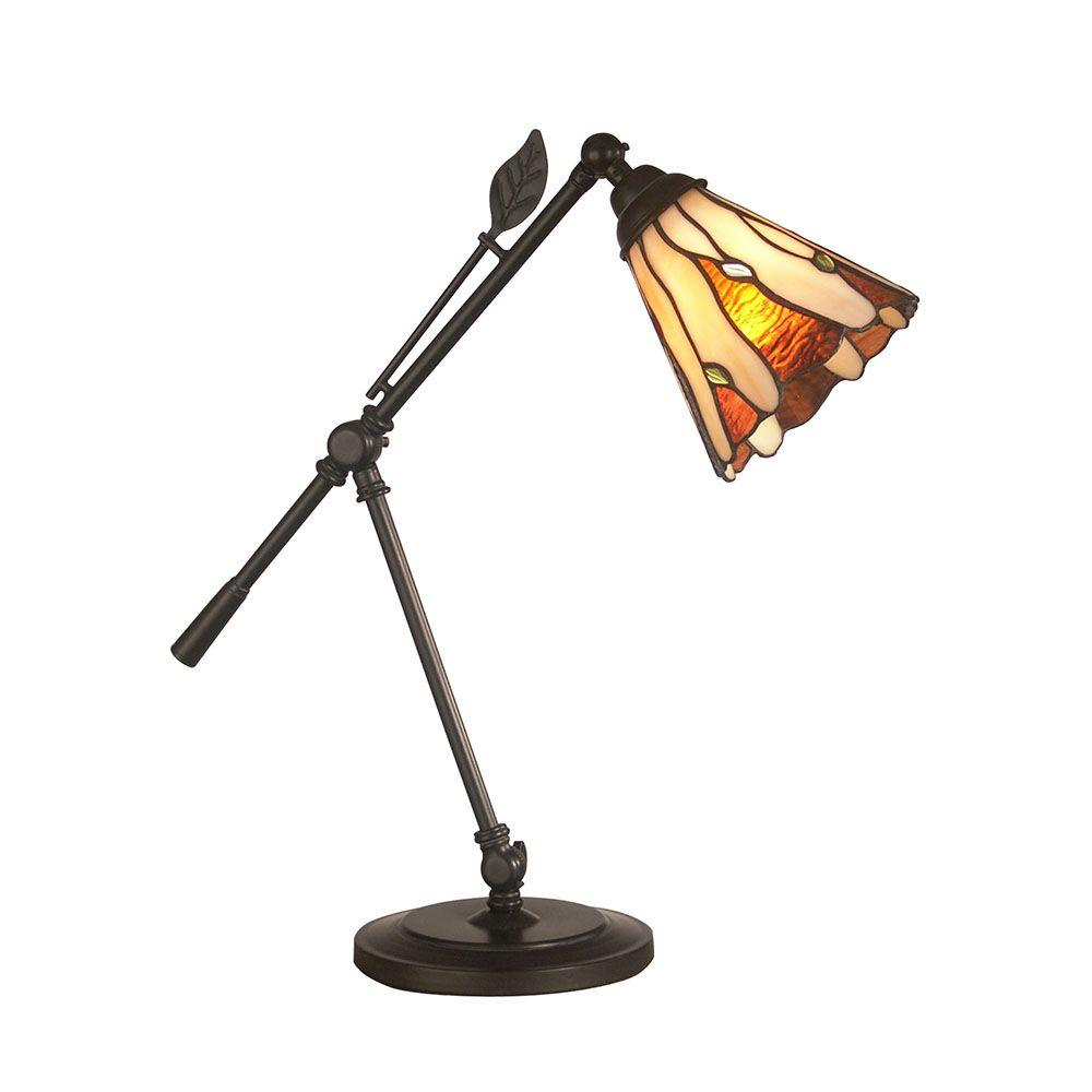 Dark Antique Bronze Amantha Art Glass Leaf Desk Lamp - Dale Tiffany 18.5 In. Dark Antique Bronze Amantha Art Glass Leaf