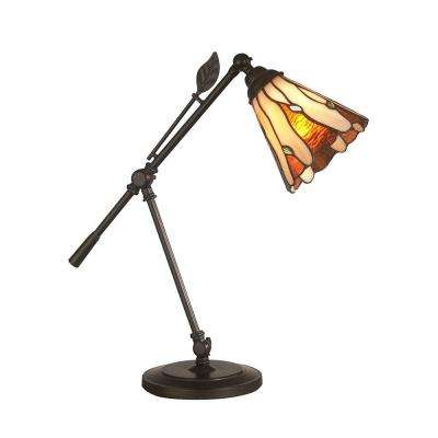 18.5 in. Dark Antique Bronze Amantha Art Glass Leaf Desk Lamp