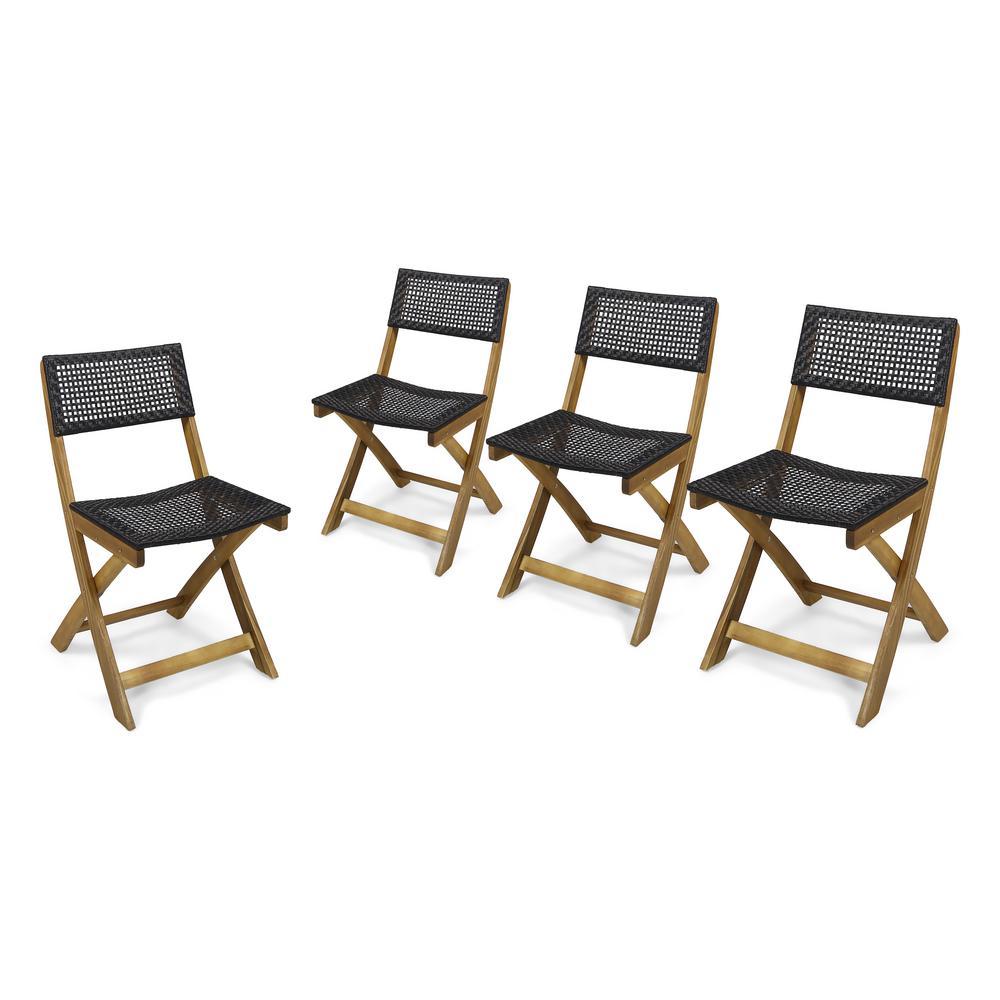 Hillside Teak Brown Folding Wood Outdoor Lounge Chairs in Brown Wicker (4-Pack)