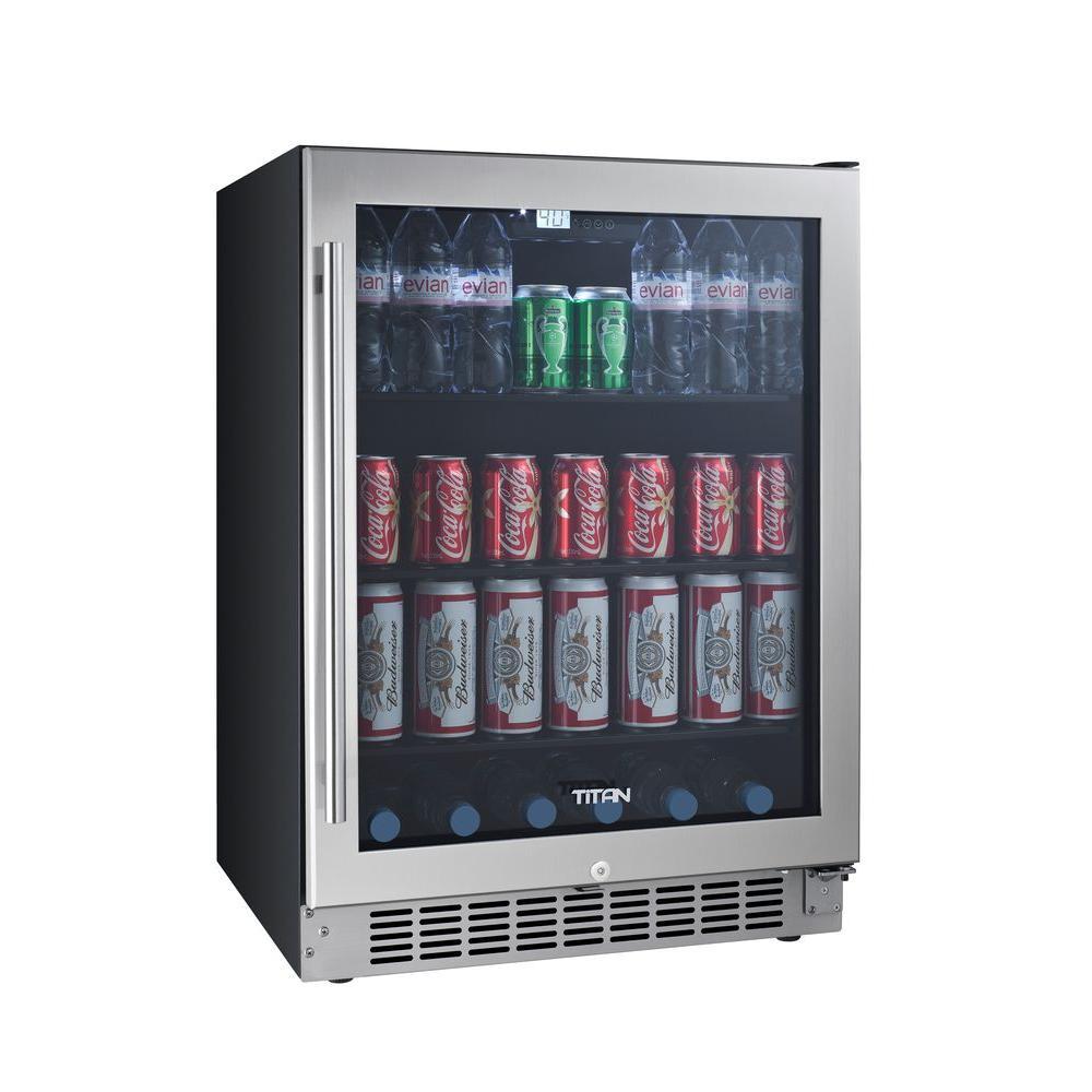 Titan 142 Can Seamless Stainless Steel Built In Beverage Cooler Tt