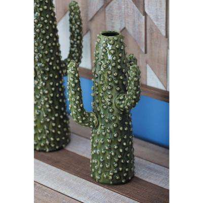 12 in. Glazed Green Ceramic Cactus-Shaped Decorative Vase
