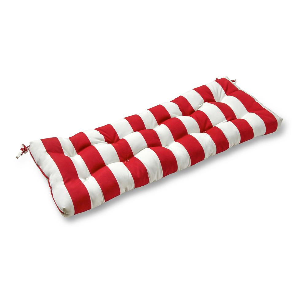 Greendale Home Fashions Cabana Stripe Red Rectangle Outdoor Bench/Swing Cushion