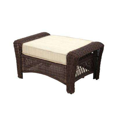 Park Meadows Brown Wicker Outdoor Ottoman with Beige Cushion