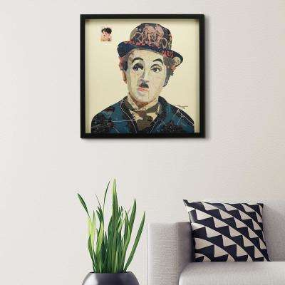 """25 in. x 25 in. """"Charlie"""" Dimensional Collage Framed Graphic Art Under Glass Wall Art"""