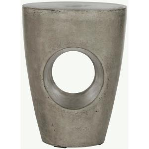 Aishi Dark Gray Round Stone Indoor/Outdoor Accent Table