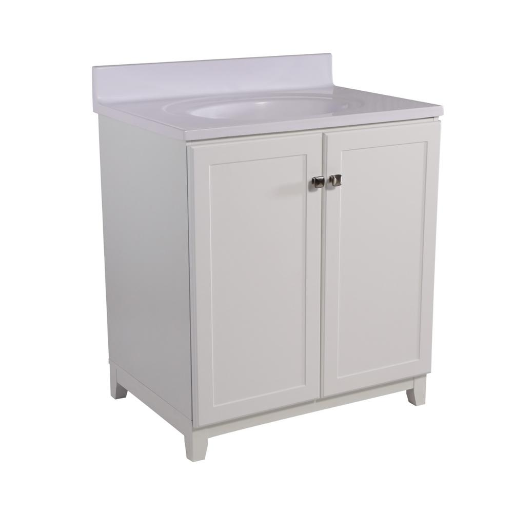 Design House Shorewood 30 in. W x 21 in. D 2-Door Vanity in White with Cultured Marble Top with Solid White Basin