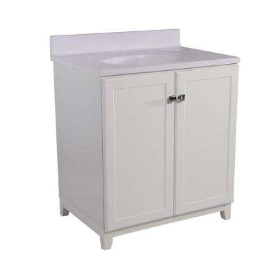 Shorewood 30 in. W x 21 in. D 2-Door Vanity in White with Cultured Marble Top with Solid White Basin