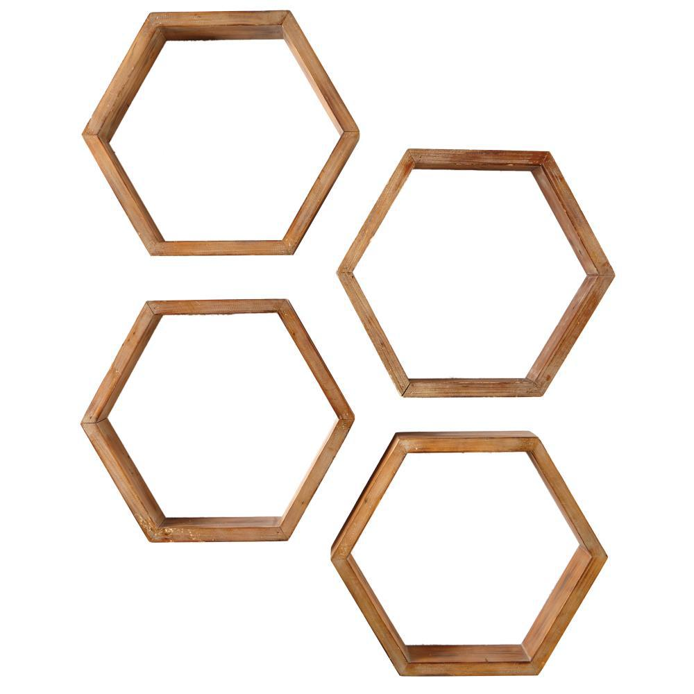 4 in. x 18.25 in. Hexagonal Brown Wood Decorative Shelves (Set of 4)