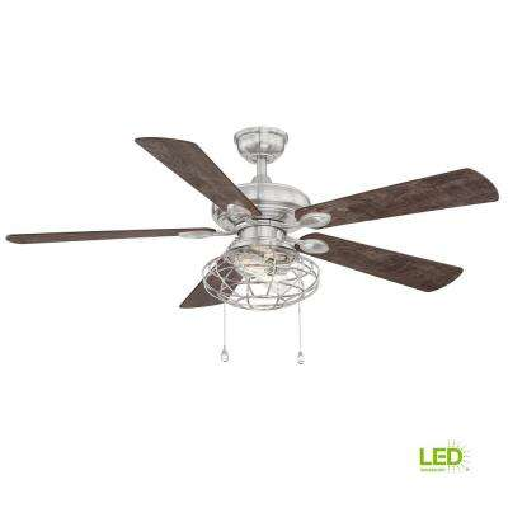 Ellard 52 in. LED Brushed Nickel Ceiling Fan with Light Kit