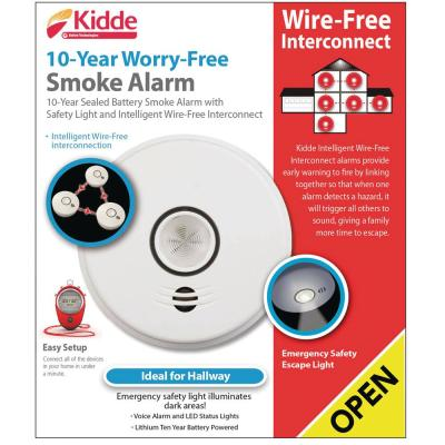 Hardwire Smoke Detector with 10-Year Battery Backup, Intelligent Wire-Free Voice Interconnect, and Safety Light