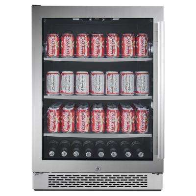 24 in. 140-Can Built-in Beverage Cooler in Black and Stainless Steel