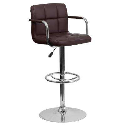 33.25 in. Adjustable Height Brown Cushioned Bar Stool