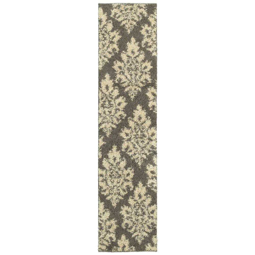 Meadow Damask Gray 1 ft. 10 in. x 7 ft. 6