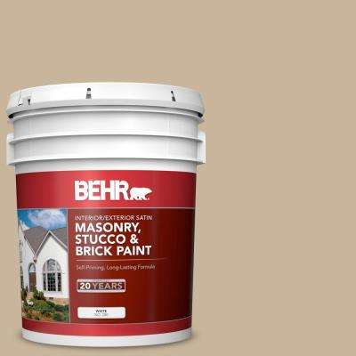 5 gal. #PPU4-07 Mushroom Bisque Satin Interior/Exterior Masonry, Stucco and Brick Paint