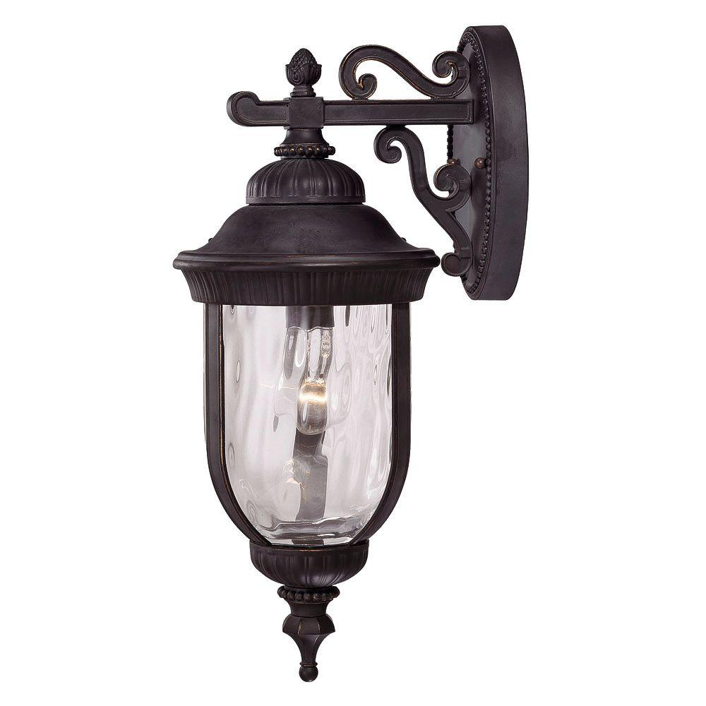 1-Light Wall Mount Lantern Black w/ Gold Finish Clear Hammered Glass