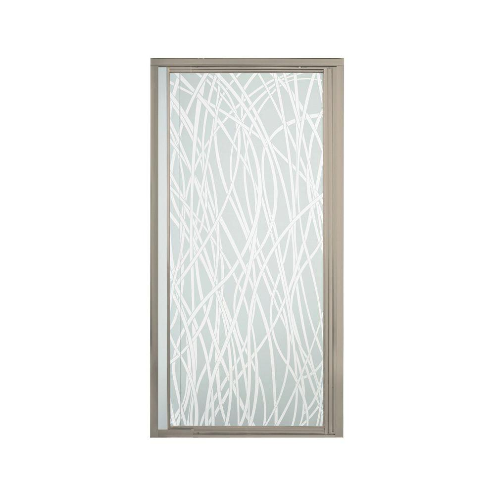 STERLING Vista II 42 in. x 65-1/2 in. Framed Pivot Shower Door in Nickel with Tangle Glass Pattern