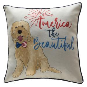 Home Accents Holiday 18 in. 4th of July Puppy Reversible Pillow