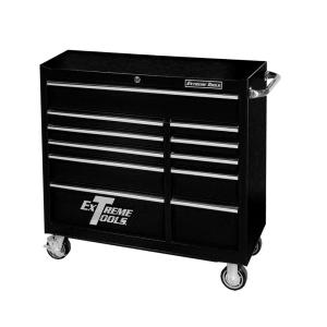 Click here to buy Extreme Tools 41 inch 11-Drawer 24 inch Deep Roller Cabinet Tool Chest in Textured Black by Extreme Tools.