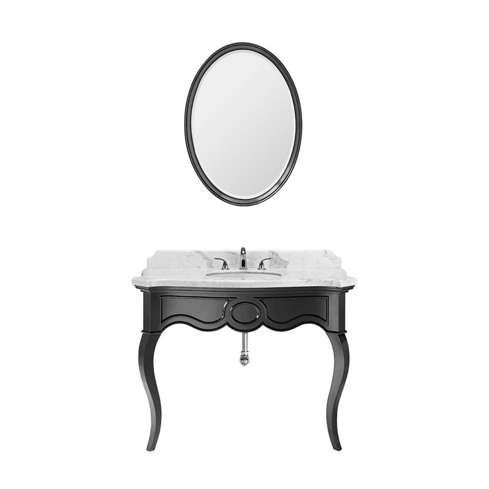 Luxe Sonnet 45 in. Vanity in High Gloss Black with Marble Vanity Top in Carrara and Mirror