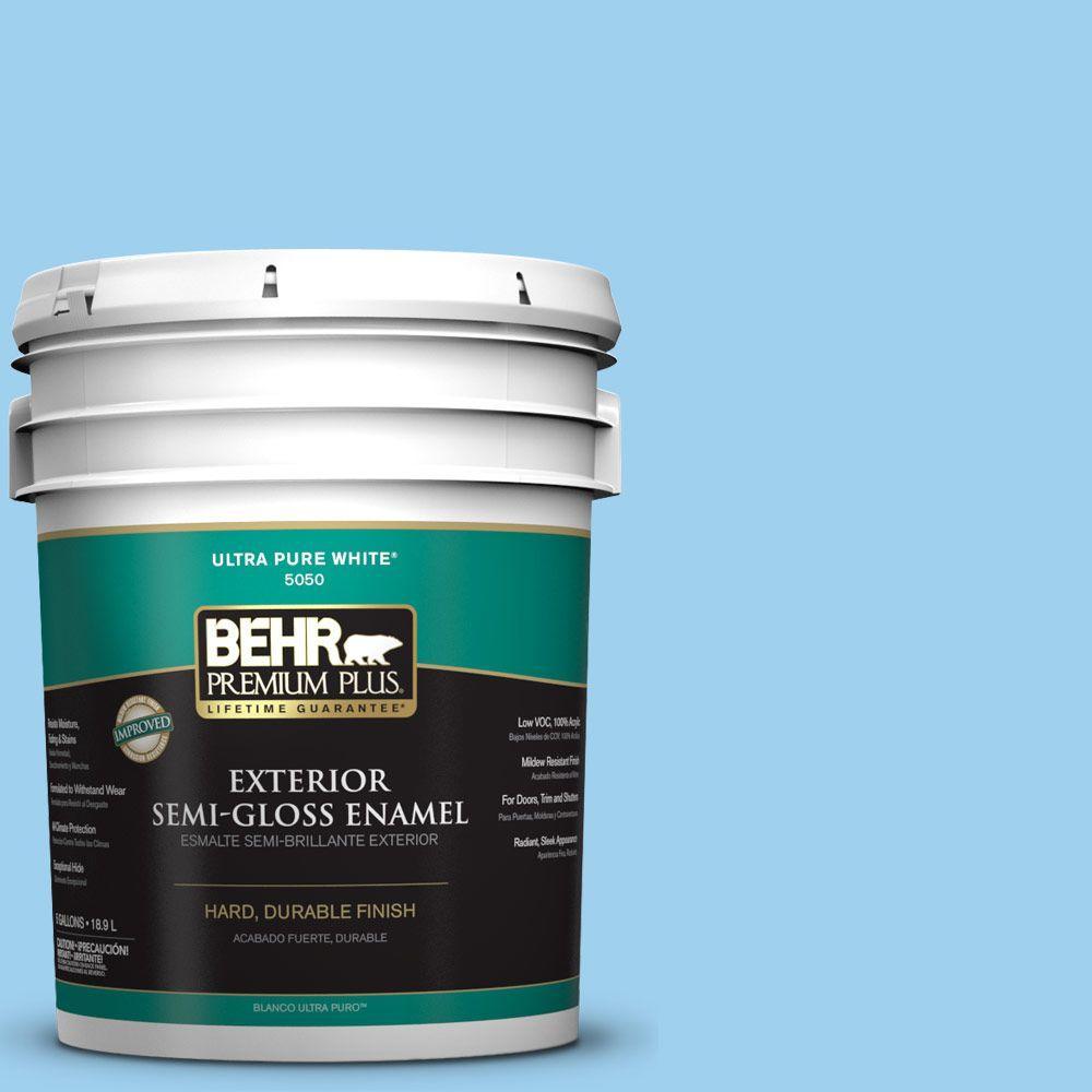 5-gal. #P500-3 Spa Blue Semi-Gloss Enamel Exterior Paint