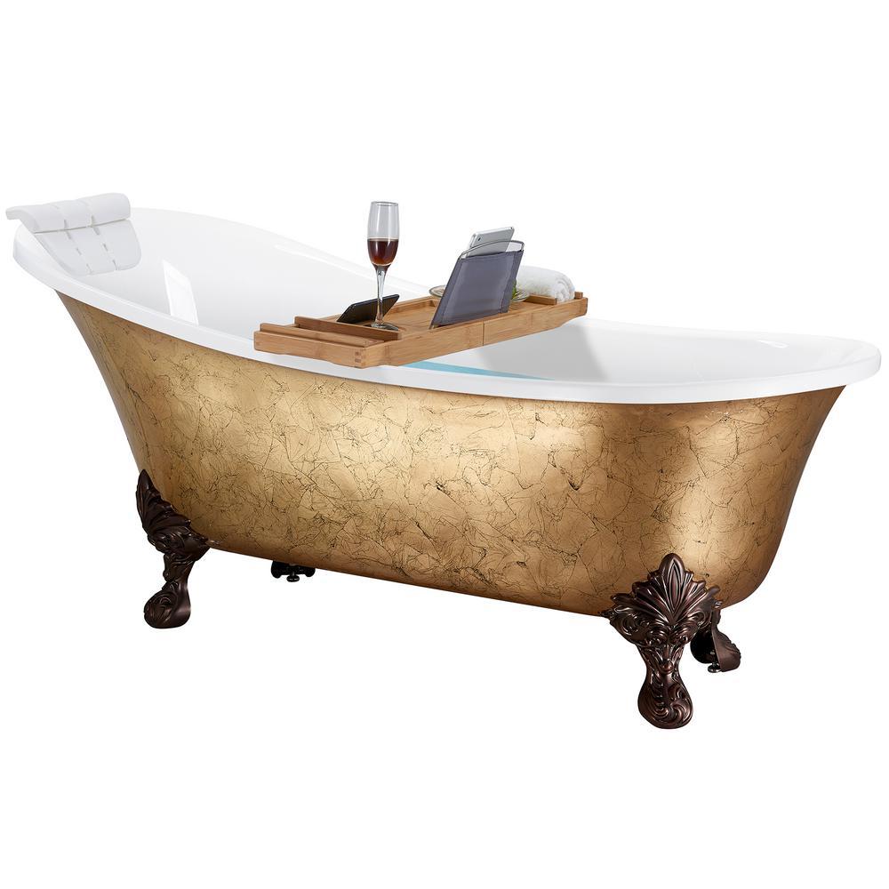 AKDY 69 in. Clawfoot Bathtub Acrylic Bathtub - Modern Flat Bottom Stand Alone Tub - Luxurious SPA Tub in Glossy Gold Foil was $1899.99 now $999.99 (47.0% off)