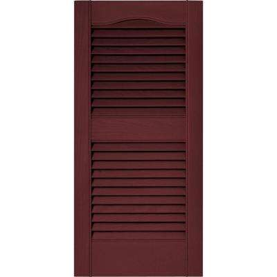 15 in. x 31 in. Louvered Vinyl Exterior Shutters Pair in #078 Wineberry