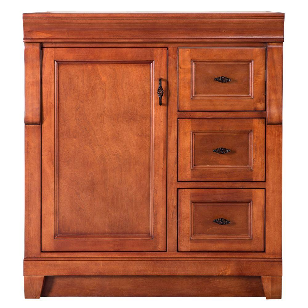 foremost naples 30 in w x in d vanity cabinet only in warm cinnamon with right hand. Black Bedroom Furniture Sets. Home Design Ideas