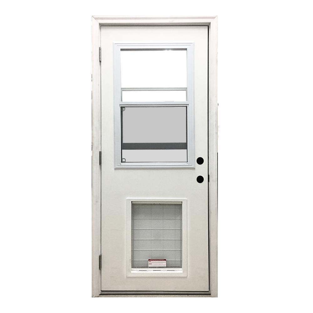 32 in. x 80 in. Classic Clear Vented Half Lite RHOS White Primed Fiberglass Prehung Front Door with SL Pet Door