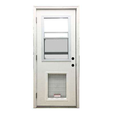 30 in. x 80 in. Classic Vented Half Lite RHOS White Primed Textured Fiberglass Prehung Front Door with SL Pet Door