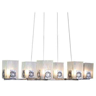 Polar 6-Light Blackened Silver Chandelier with Recycled Ice Crystal Plate Glass