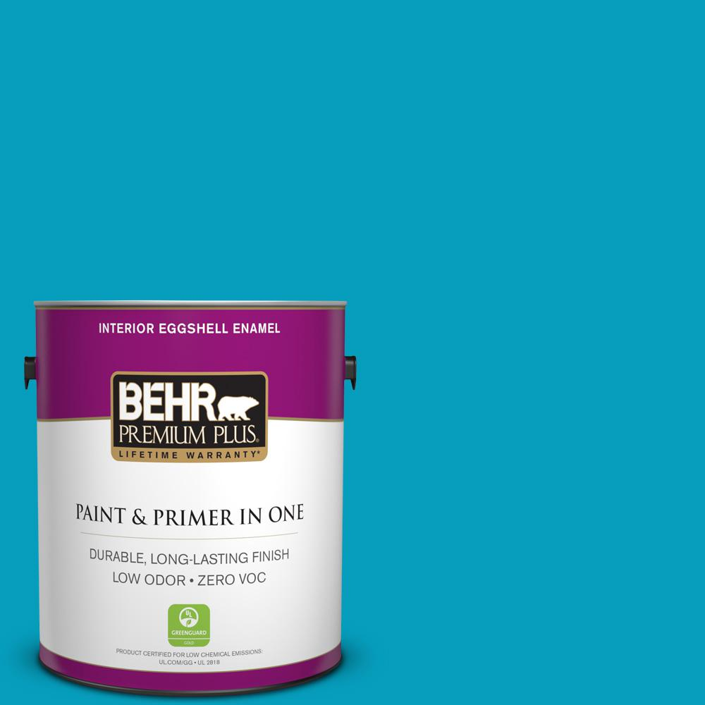 BEHR Premium Plus 1-gal. #520B-6 Brilliant Sea Zero VOC Eggshell Enamel Interior Paint