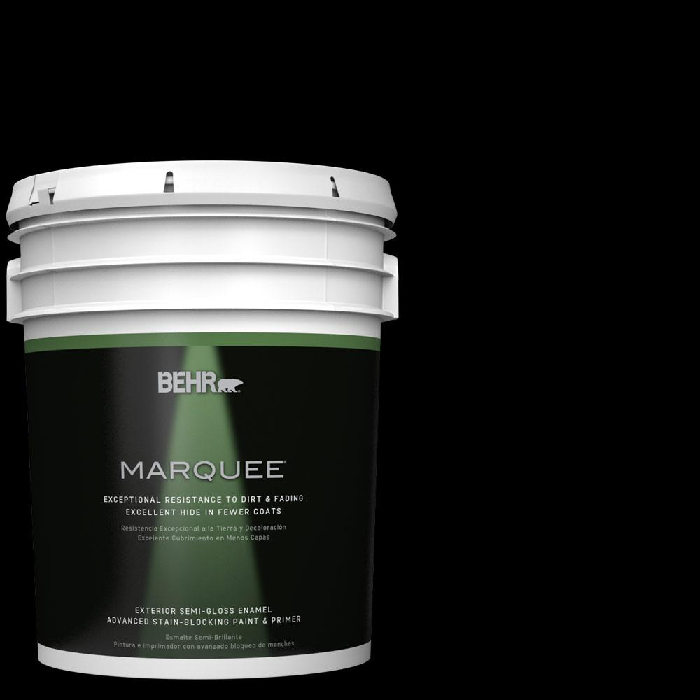 Behr Marquee 5 Gal Black Semi Gloss Enamel Exterior Paint And Primer In One 545305 The Home Depot