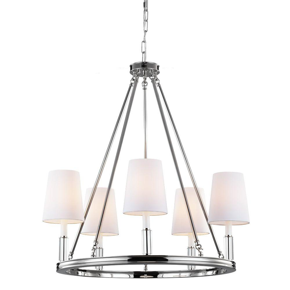 Feiss lismore 5 light polished nickel chandelier with fabric shade feiss lismore 5 light polished nickel chandelier with fabric shade mozeypictures Gallery