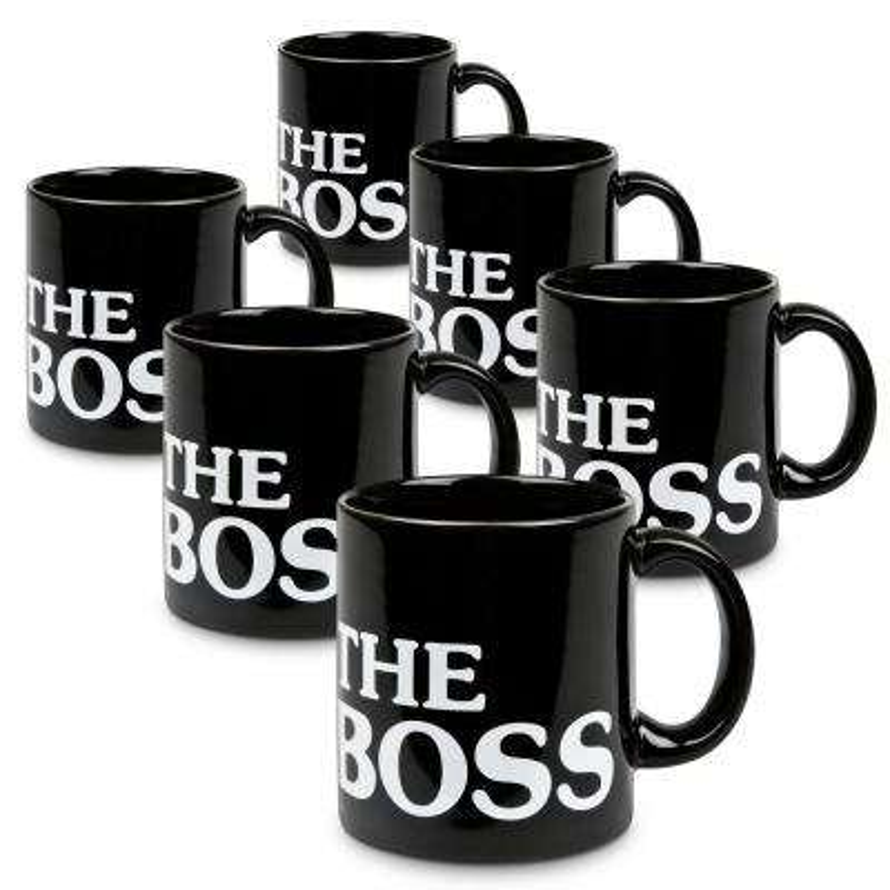 Waechtersbach 6-Piece the Boss Black Ceramic Mug Set