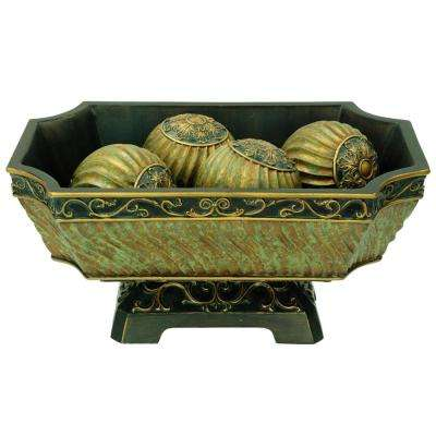 Green And Gold Castle Polyresin Decorative Bowl