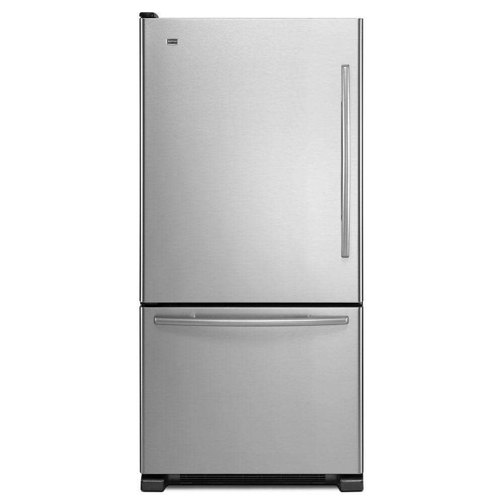 Maytag EcoConserve 33 in. W 21.9 cu. ft. Bottom Freezer Refrigerator in Stainless Steel-DISCONTINUED