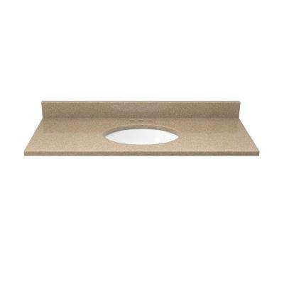37 in. Quartz Vanity Top in Cognac and Cream with White Basin